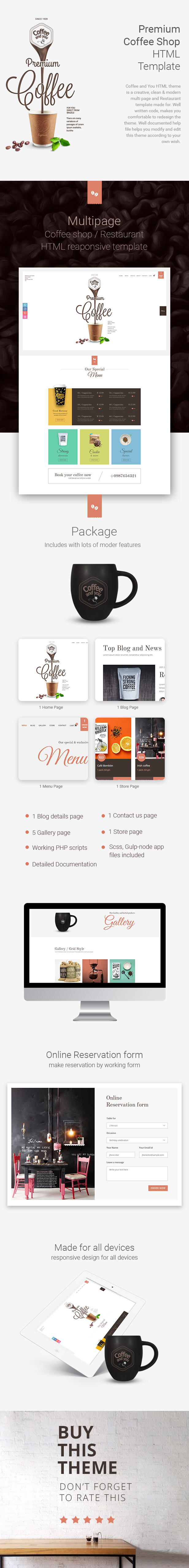 coffee shop multipage html restaurant template site templates themeforest. Black Bedroom Furniture Sets. Home Design Ideas